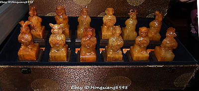 Chinese Shoushan Stone Carving 12 Zodiac Year Dragon Ox Bull Seal Stamp Signet S