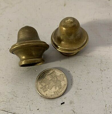 Pair antique vtg hollow solid brass light fixture finial mounting parts