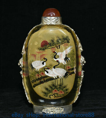 """7.6"""" Old Chinese Glass Inner Painting Palace Dynasty Crane Pine Snuff Bottle"""