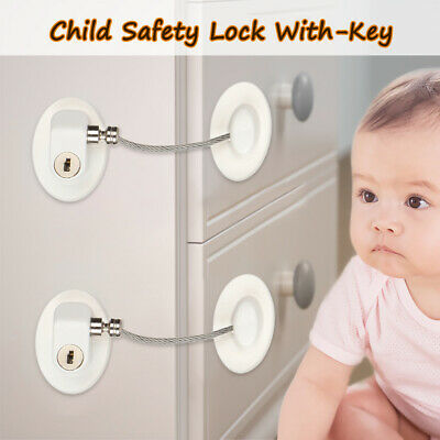Cupboard Cabinet Lock With-Key Door Stopper Baby Safety Lock Finger Protector