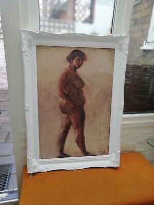 Large Framed Pencil Drawing Of A Woman Signed W.webb