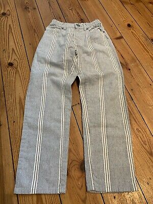 Jean Bourget Boys Grey And White Striped Elasticated Waist Trousers Age 8 Years