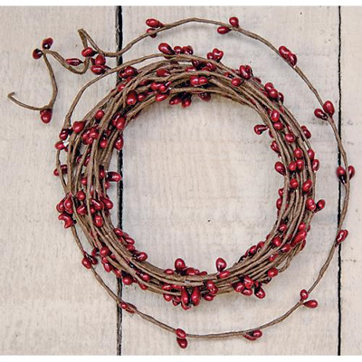 RED - Pip Berry-Single Ply-String Garland 18 Ft Long-COUNTRY- Floral-Craft