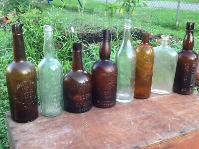 Vintage antique old whiskey bottle lot wholesale Louisiana collection embossed