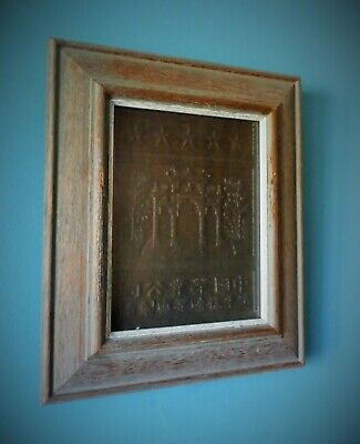 Antique Chinese Pressed Tea Brick Block For Currency Stars & Pagoda Framed