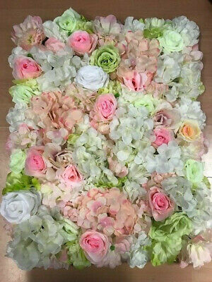 Pink green Handmade ARTIFICIAL ROSE Peony WALL PANEL WEDDING BACKGROUND-summer