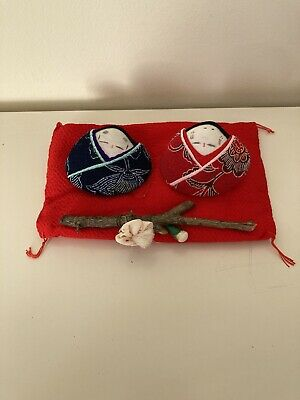 Pair Of Japanese Hand Made Fabric Ornament Dolls New