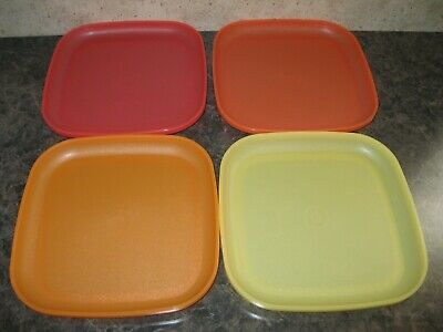 TUPPERWARE ~ Set of 4 SQUARE LUNCHEON PLATES ~ Red Orange Yellow ~ NEW