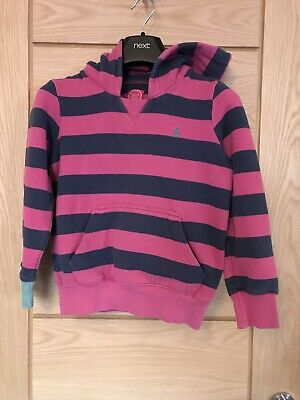 Girls Joules Pink And Navy Striped Hoody Age 8 Years