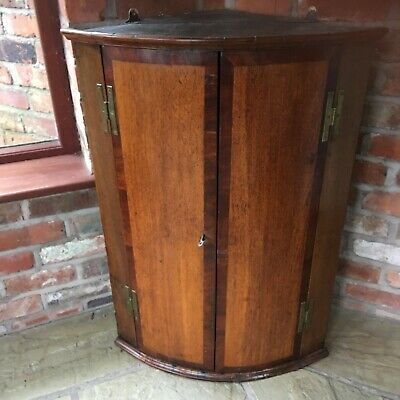 Antique Inlaid Oak & Mahogany Bow Fronted Corner Cupboard