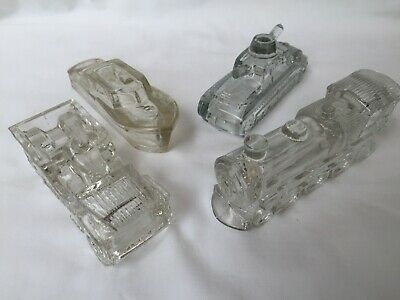 Lot 4 Vintage Antique Glass Candy Containers Boat-Tank-Jeep—Train