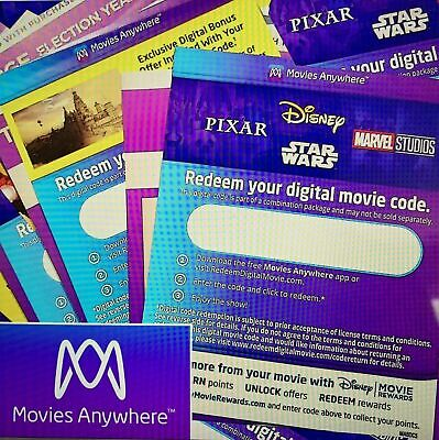 Digital Hd + 4K Codes Movie Codes 200+ Disney Marvel New Releases Prices Lowered