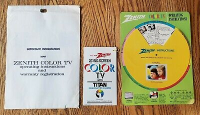Zenith Color TV Operating Instructions Color Wheel  202-3237 Vintage