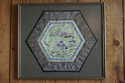 Chinese Hunan pond, birds and flower octagonal embroidery