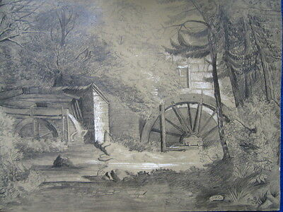 a good antique 19thc drawing of a watermill by J H Carter active 1830-1865