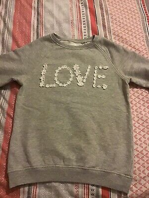 NEXT Girls Grey Sweatshirt Age 11 Love Excellent Condition