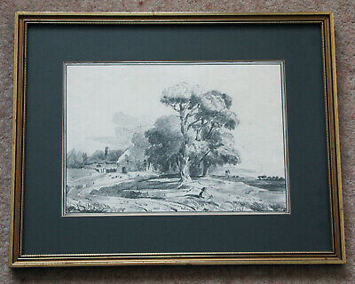 Rare early 19th century (1808) landscape drawing by Elenor Ellison