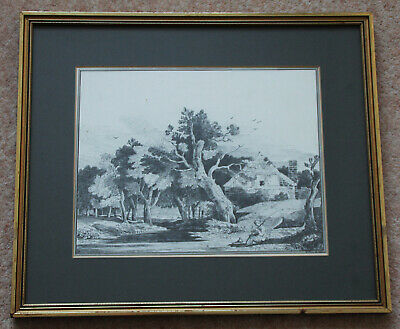 Rare early 19th century (1808) drawing 'The Fisherman' by Elenor Ellison