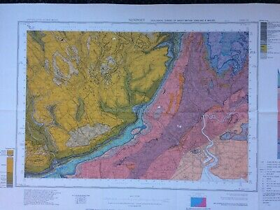 Geological Survey Map - Newport - 1968 - Solid Geology - Lovely old map