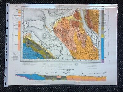 Geological Survey Map- Liverpool -1974 - Solid Geology - Laminated