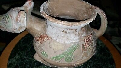 Pre Columbia ancient Mayan Pottery Dog Face Pot vessel , fine aztec carvings