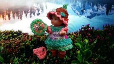 Handmade Crochet Outfit for Krissy 2.5'Barbie doll Set Dress Hat Shoe Bag Toy