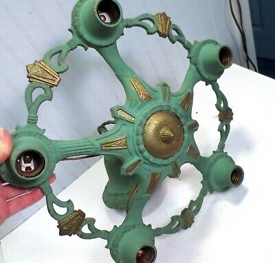 Antique Art Deco Green & Gold Metal 5 Light Ceiling Hanging Fixture Chandelier