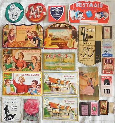 Vintage Sewing Needles Books Packets Large Lot Some Advertising