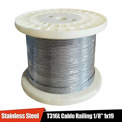 """Stainless Steel T316L Cable Railing 1/8"""" 1x19: 50, 100, 200, 250, 500, 1000 ft"""