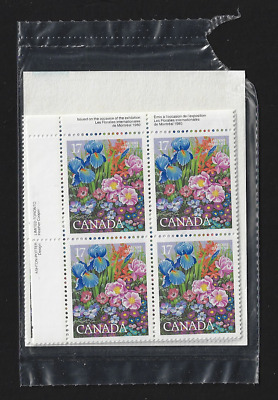 Canada Stamps — Set of 4 Blocks — 1980, Intl. Flower Show, Montreal #855 — MNH