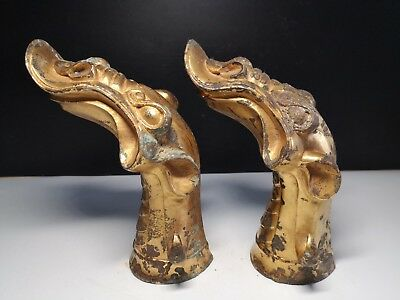 Chinese gilt bronze Dragon head pattern scepter head handrail chariot fitting