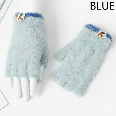 Women Furry Fluffy Plush Fingerless Gloves Mittens Winter Wrist Hand Warmer Blue