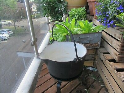 Antique J&J Siddons Hill Top West Bromwich Cast Iron Hanging Cooking Pot