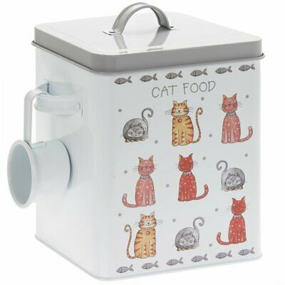 Faithful Friends Cat Dry Food Storage Tin With Scoop