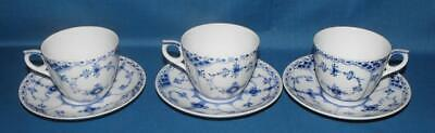 3 ROYAL COPENHAGEN BLUE FLUTED HALF LACE No 756 CUPS AND SAUCERS