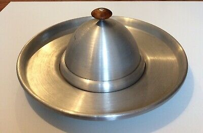 Russel Wright  Spun Aluminum Round Cheese Cracker Serving Tray Mid Century