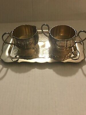 Vintage Canadian Silver Plate Sugar And Creamer With Tray.