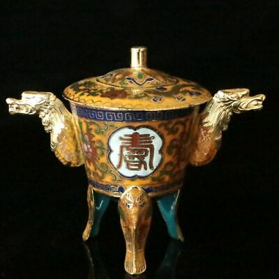 Chinese Exquisite  Cloisonne Enamel Handmade Dragon Head Cup
