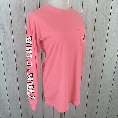 PINK Victoria Secret Size XS Womens Long Sleeve Oversized Chest Pocket T-Shirt