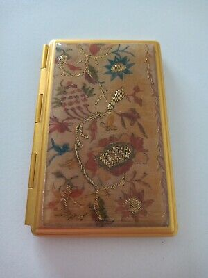 A Very Sweet Aged Gold Coloured Pocket Size Telephone Number And Mirror Compact.