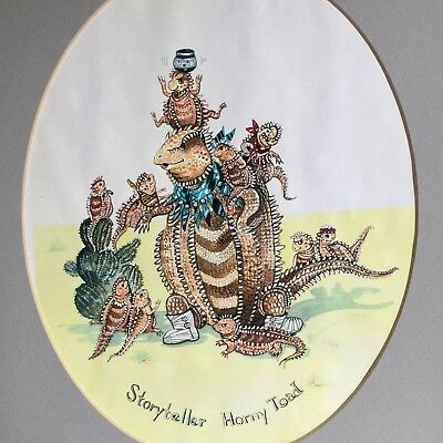 "Storyteller Horny Toad 14"" Barbara Scotten Pen Ink Art Drawing Southwestern"