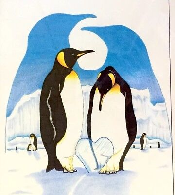 Emperor Penguins Pen Ink Pencil Drawing Vtg 18x13 Art Framed Valentine Love