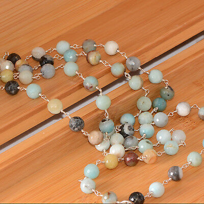 """Natural Amazonite Rosary Style Beaded Necklace 38"""" Silver Wire Loops"""