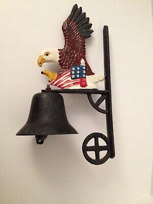 Cast Iron Bell Eagle With Us Flag