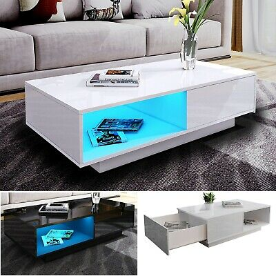 UKing Coffee Table UV High Gloss with RGB LED Lights and 4 Storage Drawers,Sofa Table for Living Room Home Office Furniture 95 x 55 x 31cm(Black)