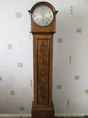Antique Mirrored Walnut Grandmother Or Granddaughter Clock German Movement