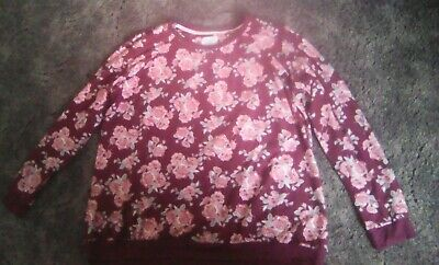 'Love To Lounge'  Primark Pyjama lounge top wine pink floral size 18/20