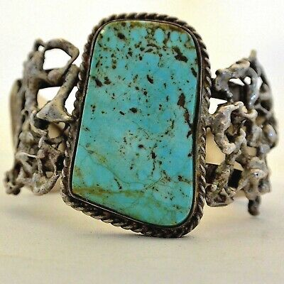 """5.25"""" Navajo """"Free Form & Leaves"""" TURQUOISE CUFF BRACELET Sterling Silver 56 gr."""