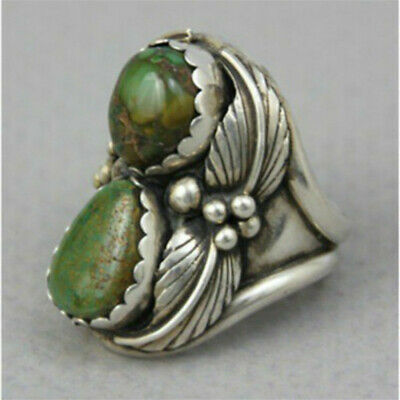 Vintage 925 Silver Turquoise Ring Women Man Wedding Jewelry Party Gift Size 8