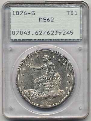 1876-S MS62 Silver $1 Trade Dollar, PCGS Original Old Green Label Rattler holder
